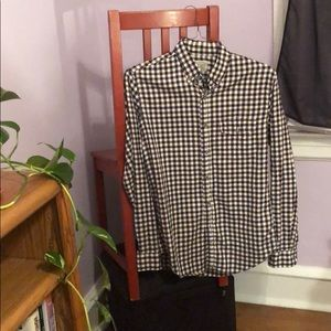 J. Crew Flannel: Brown, navy, white gingham